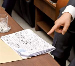 정 회장이 작성한 빼곡한 메모와 자료.