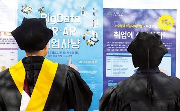 지난 13일 서울의 한 사립대 학위수여식에서 졸업생들이 취업정보 게시판을 보고 있다. 강은구 기자 egkang@hankyung.com