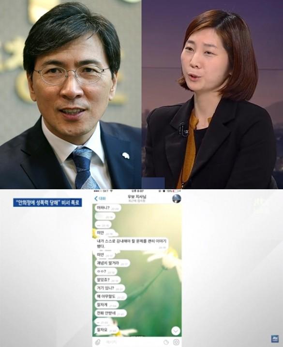 안희정 지사와 김지은 비서가 텔레그램을 통해 나눈 대화 /사진=JTBC, 연합뉴스