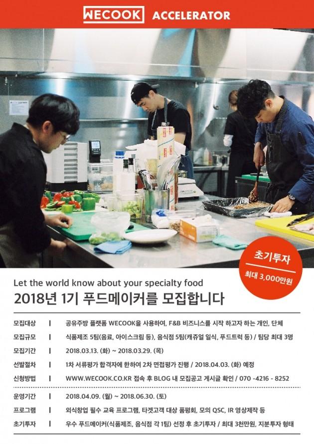"""""""외식업 스타트업 돕는다""""…위쿡 액셀러레이터 1기 푸드메이커 모집"""