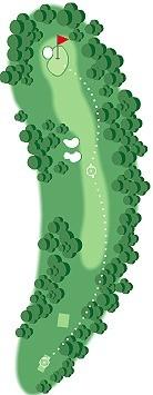 오거스타 내셔널GC 5번홀 그림. 맨 아래 나무를 자른 후 티잉 그라운드를 뒤로 물려 전장이 늘어난다.
