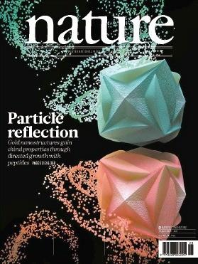 한국 과학자들이 개발한 거울 대칭상의 금 나노 기하구조 논문을 소개한 국제학술지 '네이처' 표지.