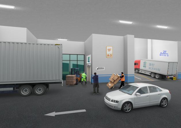 동탄 비즈센터의 1층 주차장 예상도. 전 층 드라이브인 시스템을 갖췄다