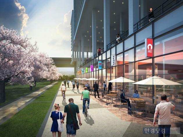 동탄 엠타워의 1층 상가는 벚꽃 스트리트로 조성될 예정이다.