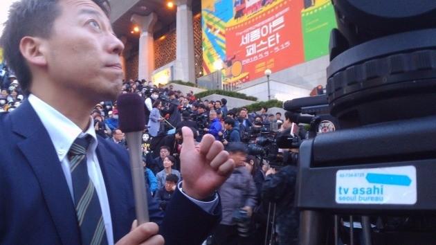 이날 집회에는 일본 아사히 TV에서도 취재를 나와 이번 대한항공 갑질 사태의 국제적 관심을 증명했다