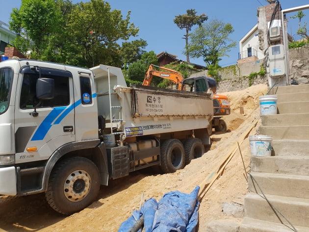 부암동 인근 단독주택 공사현장. 사진=민경진 기자