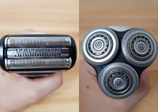 브라운 시리즈5 '5140S'(왼쪽)의 일자형 헤드와 필립스 시리즈 9000 'S9090'(오른쪽)의 원형 헤드.