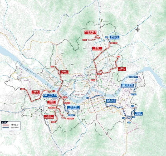 서울시 10개년 도시철도망 구축계획 종합 노선도. 서울시 제공