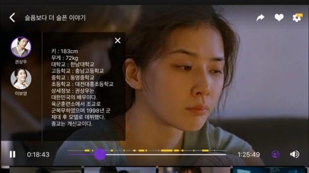 비플릭스 AI 얼굴인식 기술로 배우 프로필을 확인하고 있다. /제타미디어 제공