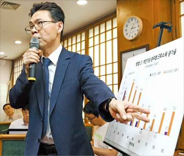 홍장표 경제수석이 3일 청와대 춘추관에서 기자간담회를 열어 '최저임금 긍정적 효과 90%'의 근거를 설명하고 있다. /허문찬 기자 sweat@hankyung.com