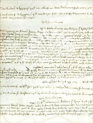 1494년 스코틀랜드 왕이 위스키 제조를 명한 재무부 문서.