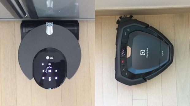 벽면과 구석 청소에서도 차이를 보였다. LG 코드제로 R9 씽큐(왼쪽)가 흡입구를 직접 갖다 대는데 반해 일렉트로룩스 퓨어i9(오른쪽)은 사이드 브러시를 통해 먼지를 쓸어모은다.