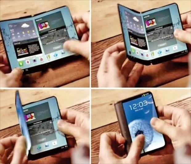 삼성전자가 2014년 미래 스마트폰으로 소개한 폴더블폰 콘셉트 영상. /한경DB