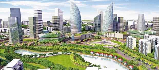 미래 스마트 도시를 그린 상상도. 건물에 설치된 태양광 전지와 연료전지가 전기를 생산하고 스마트 그리드를 통해 전기 생산과 사용자 간에 균형을 유지한다.