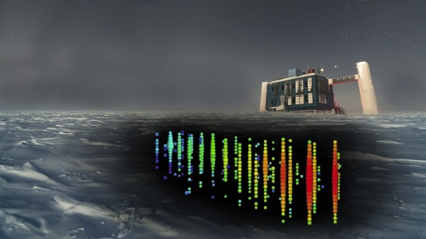 아이스큐브 중성미자 검출기가 남극의 아문센 스콧 기지 지하 1450~2450m 깊이에 있는 얼음 속에 설치돼 있는 모습. 구멍을 뚫고 설치한 광센서 5160개가 지구 반대편 북반구 하늘로 날아온 중성미자를 검출한다. 사이언스 제공