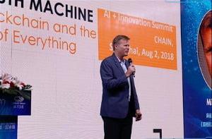 이달 1~2일 상하이에서 열린 'AI & 블록체인 이노베이션 서밋'에 연사로 나선 마이클 케이시 교수. / 사진=에듀해시 제공