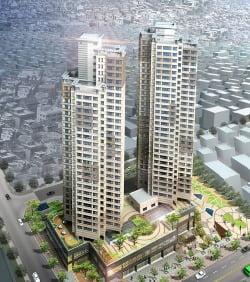 주상복합 아파트 2개 동, 212가구 건축계획 당시의 조감도. 조합 제공