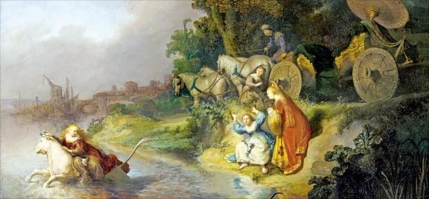 렘브란트가 1632년에 그린 '유로파의 납치'. 황소로 변신한 제우스가 페니키아의 유로파 공주를 납치해 달아나고 있다. '유럽'이라는 말이 여기서 나왔다.  /책과함께 제공