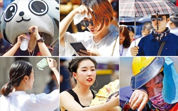 < 버틸 수밖에… > 연일 이어지는 폭염 속에 2일 서울 시민들이 다양한 방법으로 더위를 식히고 있다. 이날도 경북 의성이 39.8도, 서울이 37.5도까지 오르는 등 불볕더위가 이어졌다. 기상청은 이달 중순까지는 폭염이 계속되고 비 소식도 없겠다고 예보했다.  /허문찬 기자 sweat@hankyung.com, 연합뉴스