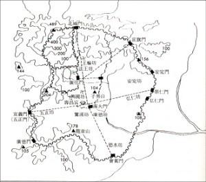 개경의 성곽, 문, 도로를 나타낸 지도