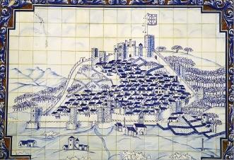 카스텔루 브랑쿠의 옛 모습을 그린 아줄레주 벽화
