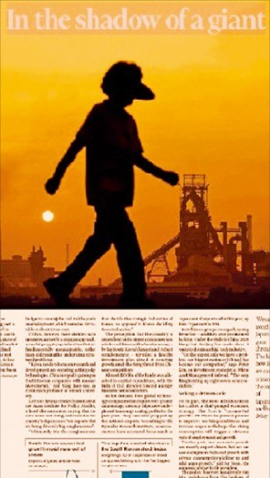 파이낸셜타임스에 실린 '거인(중국)의 그림자' 기사.