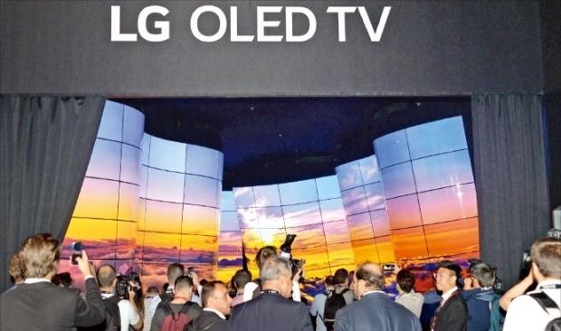 < LG '올레드 협곡' > LG전자는 31일 독일 베를린에서 개막한 'IFA 2018'에서 '더 나은 삶'을 주제로 한 프리미엄 가전제품을 대거 선보였다. LG전자 전시장을 찾은 관람객들이 입구에 설치된 초대형 조형물 '올레드 협곡'을 감상하고 있다.  /연합뉴스