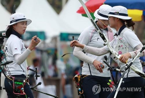 [아시안게임] 양궁 남녀 단체전, 동반 결승 진출…은메달 확보