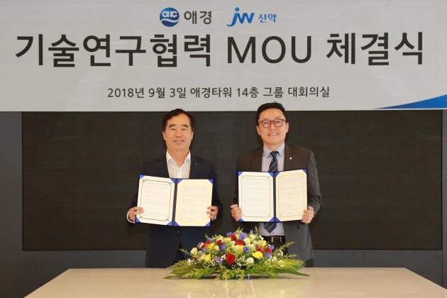 왼쪽부터 백승호 JW신약 대표와 이윤규 애경산업 대표