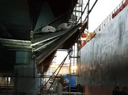 지난 5일 영흥화력발전소에서 비계구조물(건설현장에서 사용하는 작업받침대)이 붕괴되어 2명이 사망했다. 중부고용노동청 제공