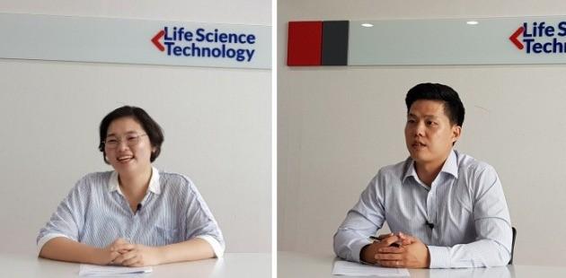 (왼쪽부터) 정숙희 라이프사이언스테크놀로지 기획관리팀 과장, 김지만 세일즈앤마케팅팀 과장. 신세원 기자 tpdnjs0227@hankyung.com