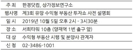 [한경부동산] 상가,오피스텔 등 수익형 부동산 투자쇼···사전 설명회 개최