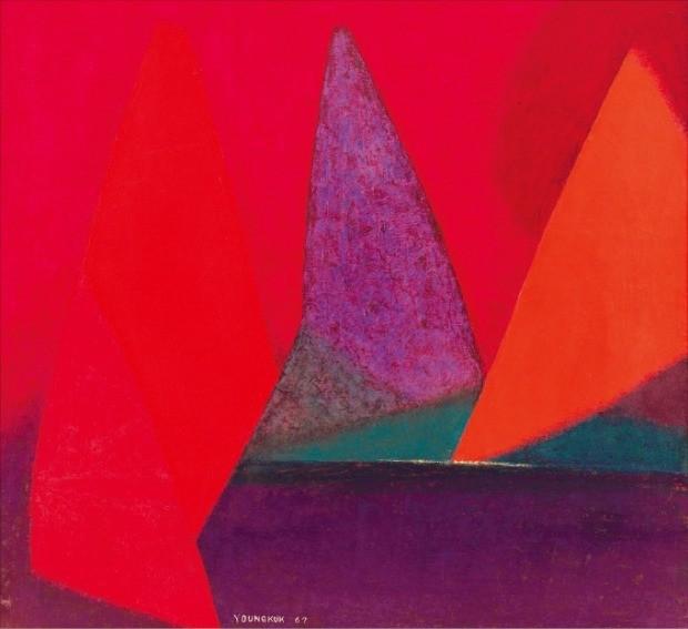 서울 소격동 국제갤러리에 전시된 유영국 화백의 1967년작 'Work'.  /국제갤러리 제공