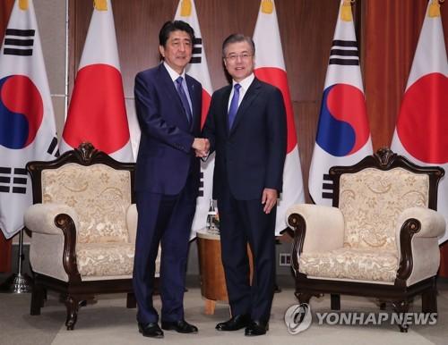 문대통령·아베, 한일정상회담 46분만에 종료