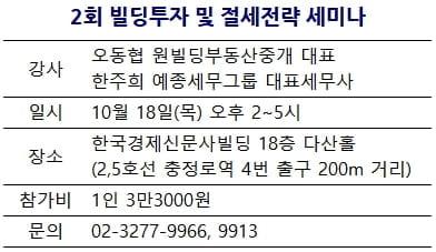 [한경부동산] 빌딩투자 및 절세전략 세미나···18일 개최