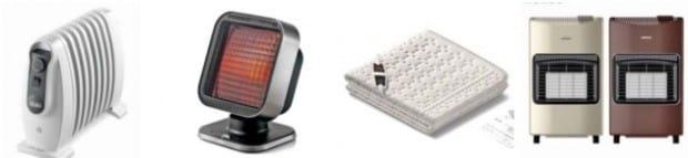 드롱기 라디에이터 나노S(왼쪽부터) 신일산업 에코 히터, 보이로 온열매트, 파세코 캐비넷 가스 히터.
