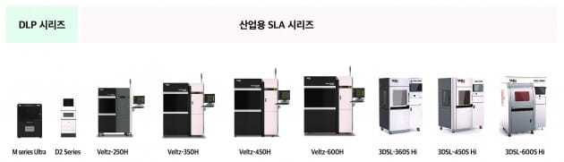 헵시바 개발한 'Veltz3D' 브랜드의 3D프린터 제품들.