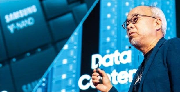 최주선 삼성전자 미주총괄 부사장이 미국 캘리포니아주 새너제이에서 열린 '테크데이 2018'에서 기조연설을 하고 있다.  /삼성전자 제공