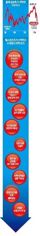 美 '경기 꼭지론'에 기술株 털썩…다우, 올 상승분 모조리 반납