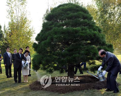 10·4행사 방북단 '노무현 소나무' 보고 오후 귀환