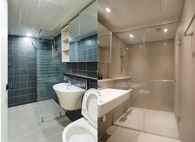 욕조를 철거한 자리에 샤워부스를 설치했다.