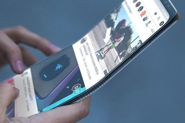 삼성전자의 폴더블폰 '갤럭시F' 추정 이미지.