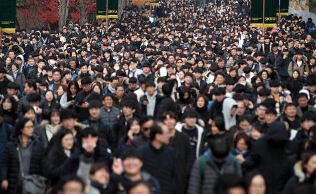 18일 오전 서울 종로구 성균관대학교에서 2019학년도 수시모집 논술고사를 치른 수험생들이 학교를 나서고 있다. [사진=연합뉴스]