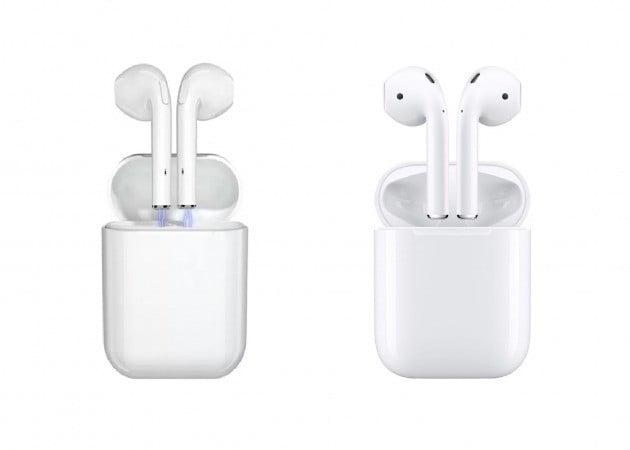 어느 것이 진짜 에어팟일까? 정답. 왼쪽이 중국 온라인몰에서 판매하고 있는 차이팟. 오른쪽이 애플의 에어팟이다. 사진=애플 공식 홈페이지 및 타오바오 등
