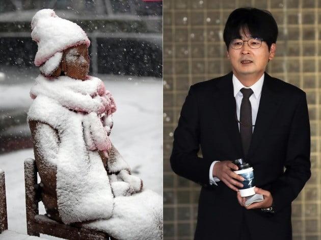지난 24일 서울에 첫눈이 내리면서 탁현민 청와대 행정관(오른쪽)의 거취 논란이 재점화됐다. / 사진=연합뉴스