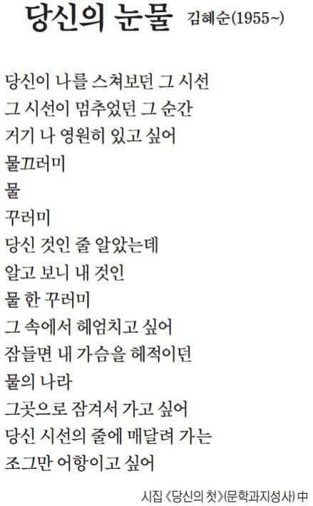 [이 아침의 시] 당신의 눈물 - 김혜순(1955~)