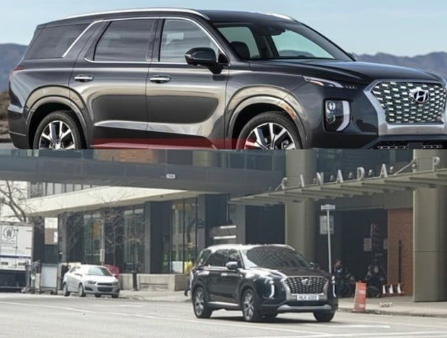 오는 28일 사전계약에 들어가는 현대자동차 '팰리세이드'의 유출 모습. (사진=인터넷 갈무리)