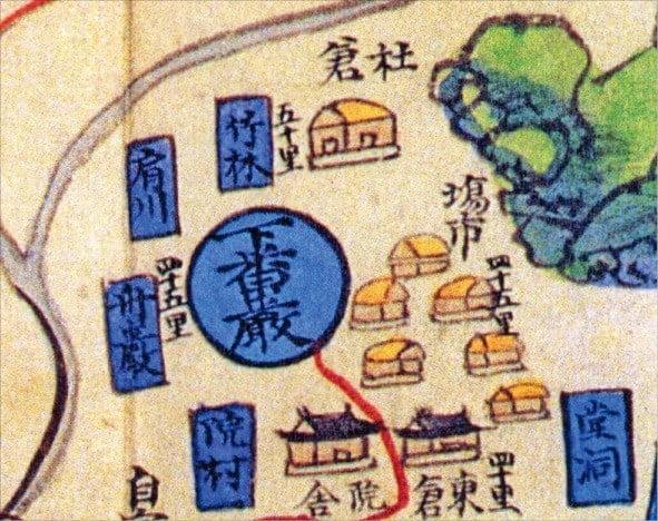 18세기 전라도 남원 하번암면 지도. 장시 가까운 곳에 사창이 들어서 있다.