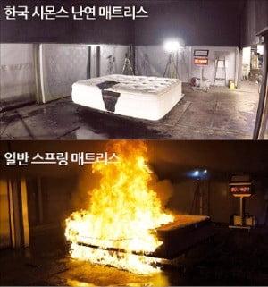 일반 스프링 매트리스와 시몬스 난연 매트리스의 화재 안전 실험 모습. /시몬스 제공
