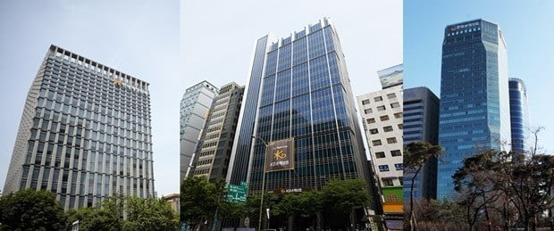 (사진 왼쪽부터) 현대해상, KB손해보험, 한화손해보험 본사 전경.